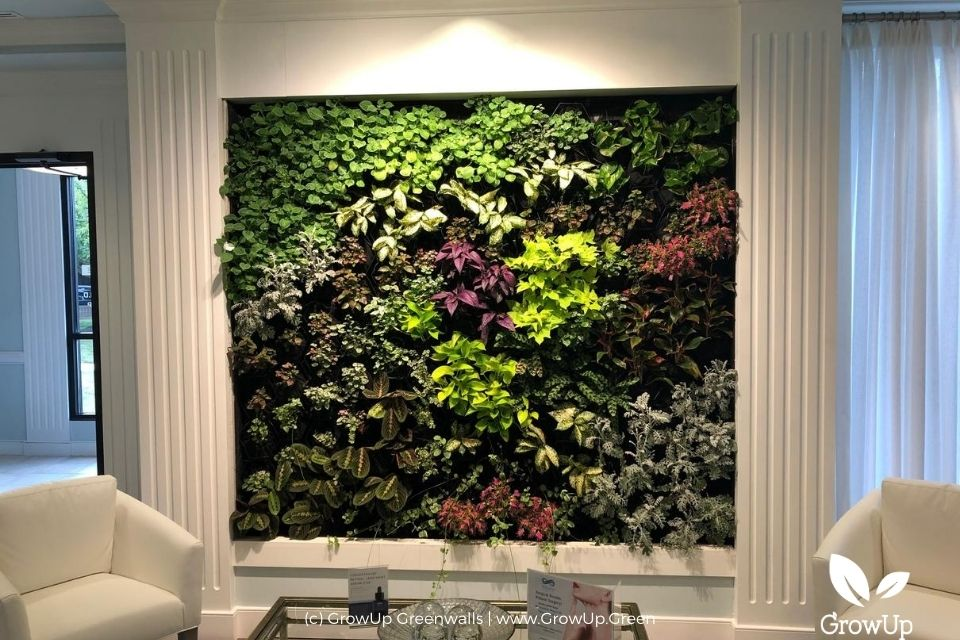 An indoor greenwall with a coffee table and chairs in front of it