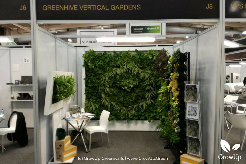 A display of different types of greenwalls at an expo