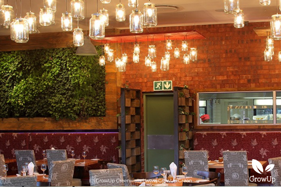Indoor dining area in restaurant with greenwall as backdrop