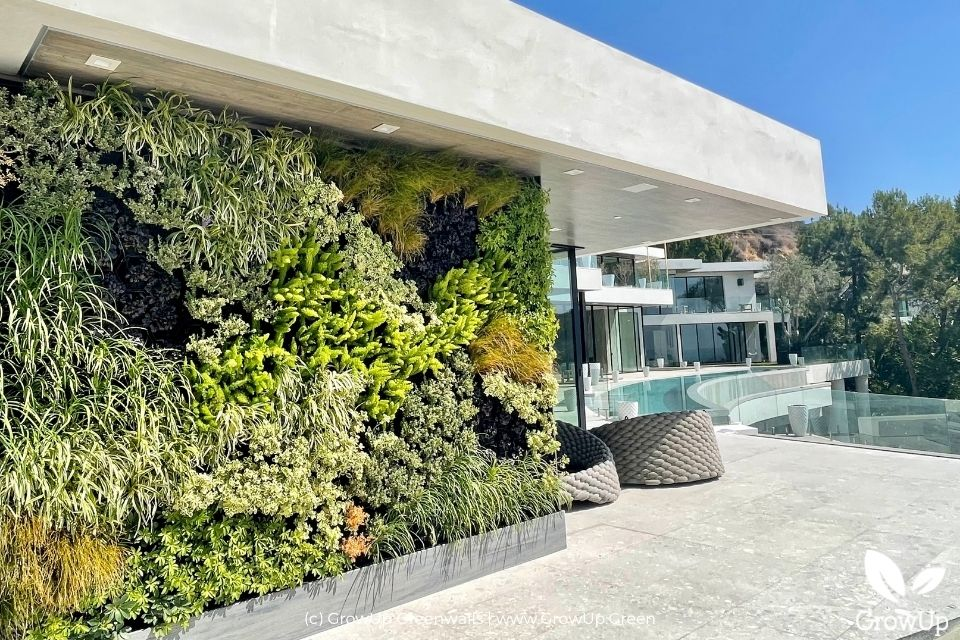 Large greenwall with a view of a pool and trees.