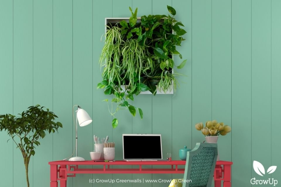 Freedom Series Anywhere small pre-built greenwall mounted on a wall in a home office.