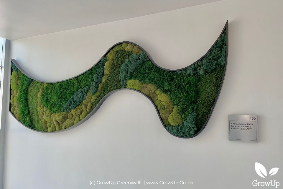 Creative swirl-shaped moss wall.