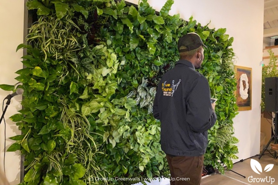 large greenwall in office
