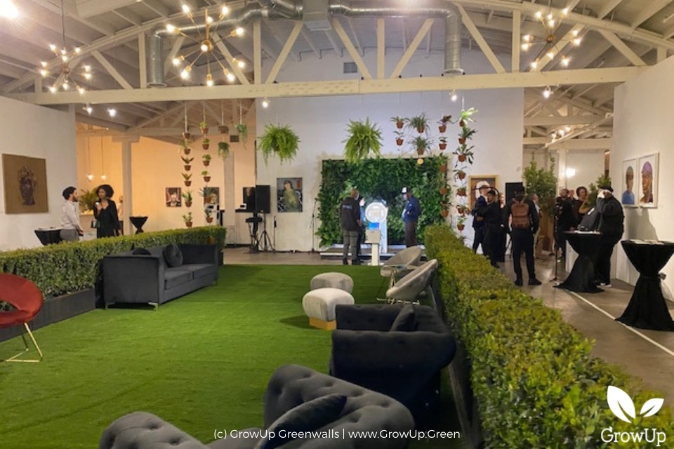 large greenwall in an event room