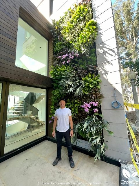 Man standing in front of a two-story tall greenwall.